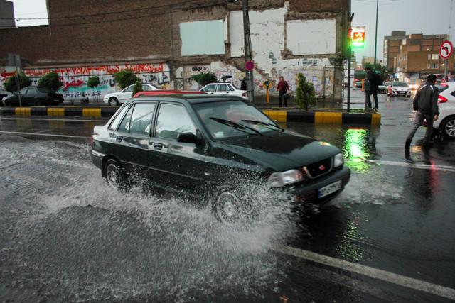 بارش باران شدید و آبگرفتگی معابر - تبریز