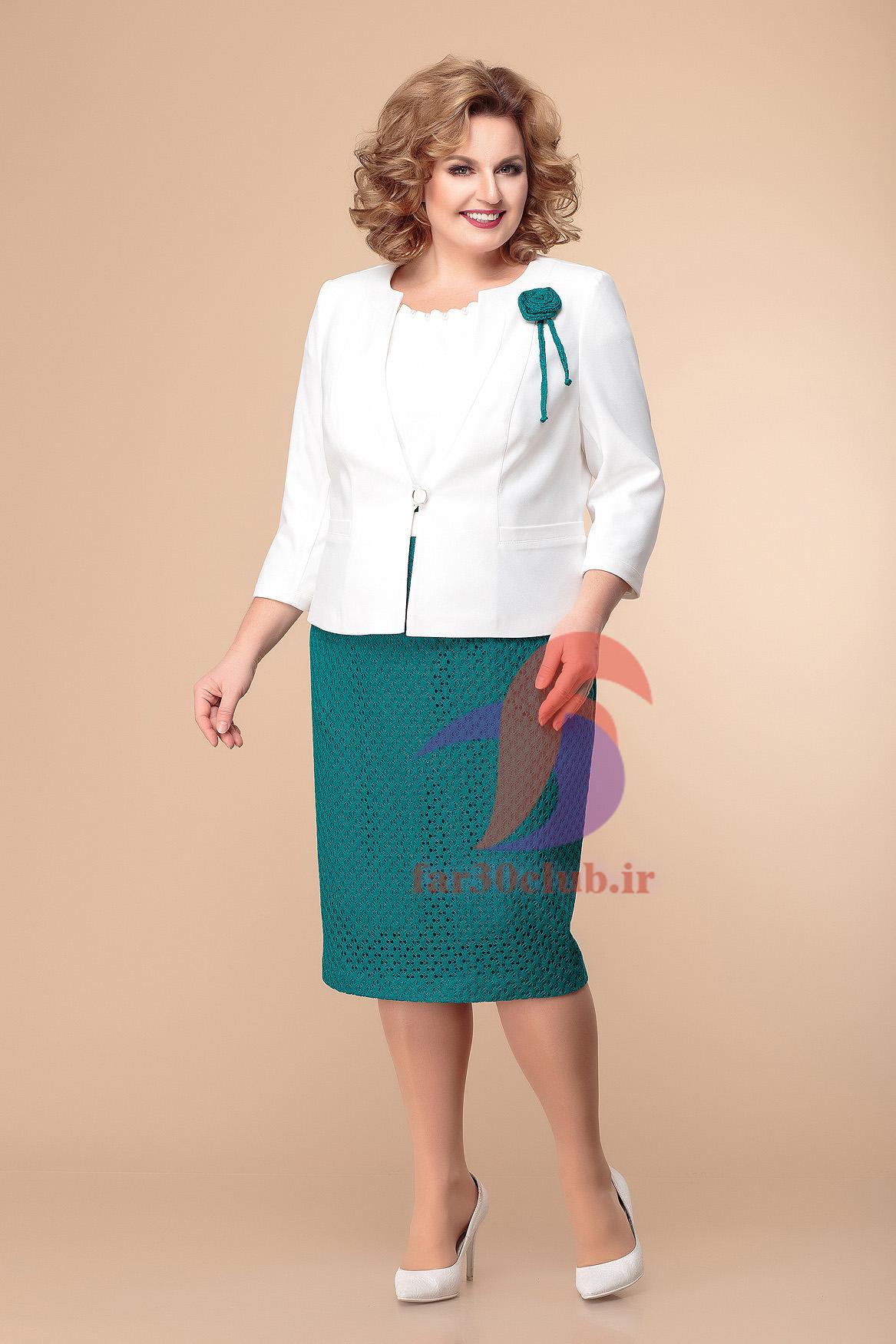 کت دامن سفید سبز