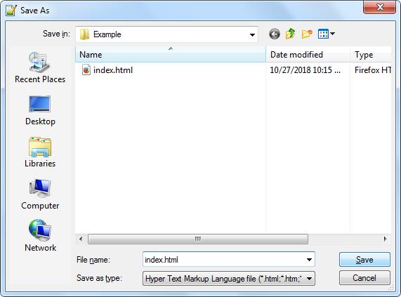 ذخیره فایل HTML