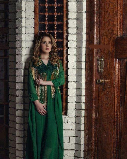 لباس کردی زنانه سبز طرح دار