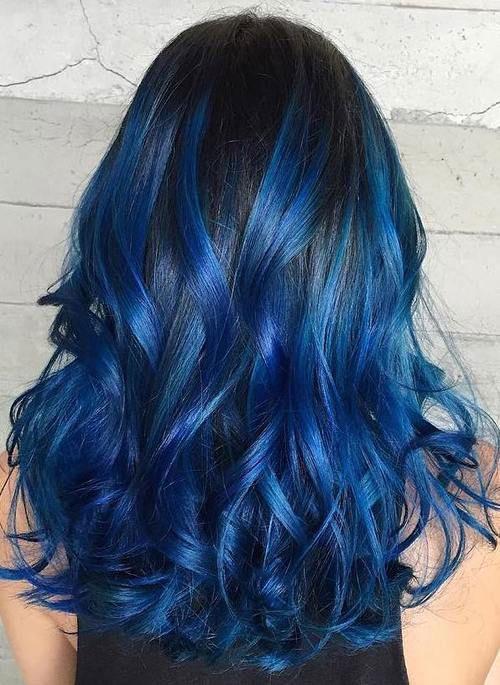 ترکیب رنگ موی آبی