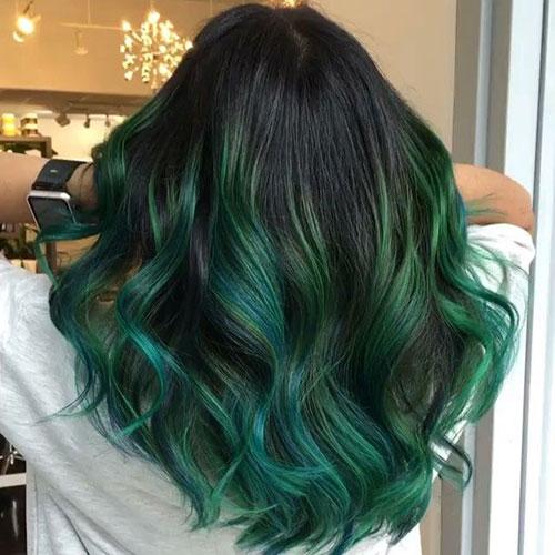 ترکیب رنگ موی سبز