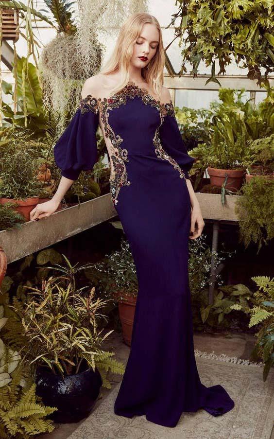 مدل لباس مجلسی کار شده بنفش سیر