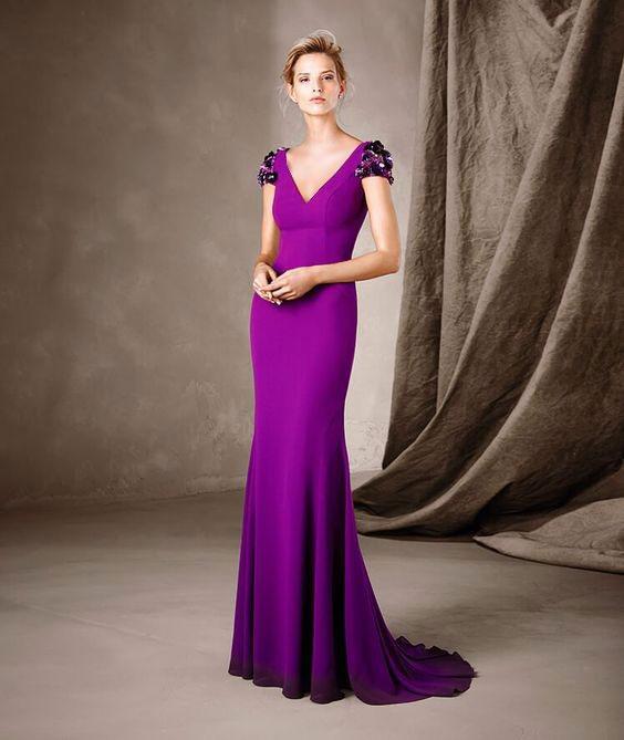 مدل لباس مجلسی بنفش یقه هفت بلند