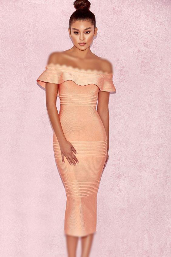 مدل لباس مجلسی مرجانی کمرنگ دکلته