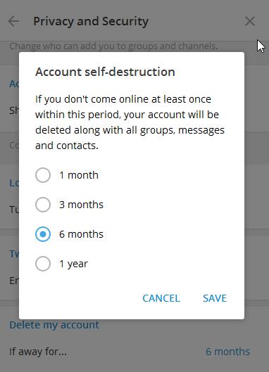 دیلیت اکانت تلگرام، حذف خودکار اکانت تلگرام
