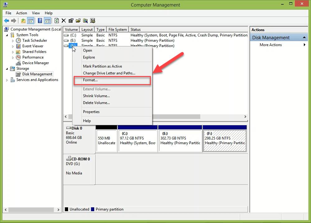 فرمت کردن درایو SSD