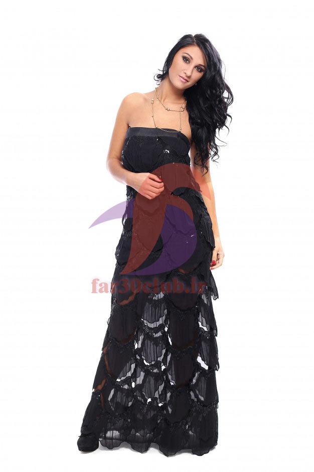 مدل لباس مجلسی بلند با پارچه ژاکارد ، مدل لباس مجلسی بلند با پارچه گیپور