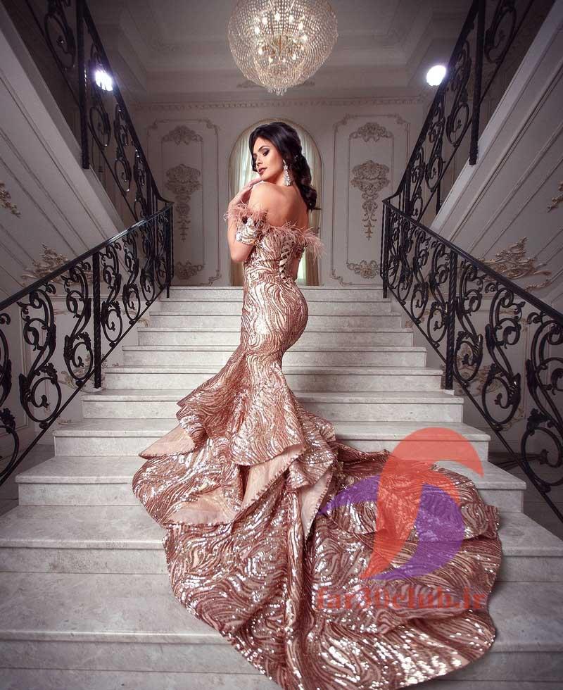 لباس دنبال دار مجلسی