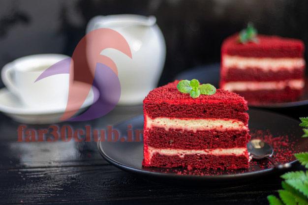 طرز تهیه کیک قرمز بدون فر ، طرز تهیه کیک قرمز ولنتاین